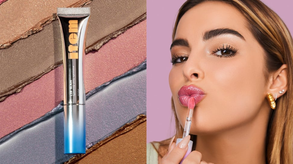 On the left: The Item Beauty Lid Glaze in its silver tube and the background is swatched with five shades of the liquid eyeshadow. On the right: Addison Rae making a kissy face and applying the Lip Quip to her lips in a pink shade.