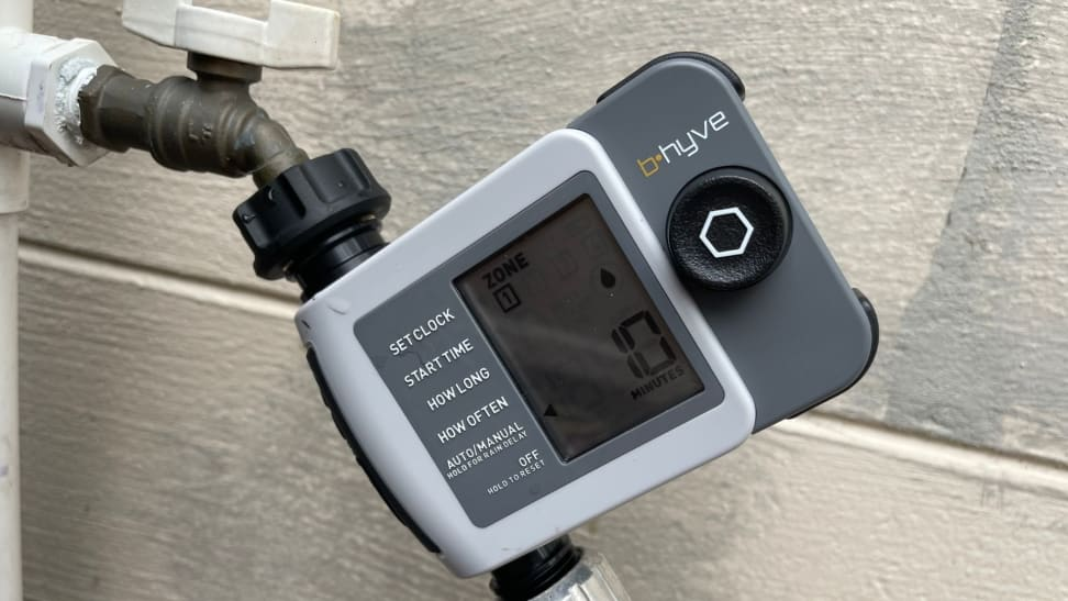 The Orbit B-hyve XD Hose Faucet Timer connected to a hose