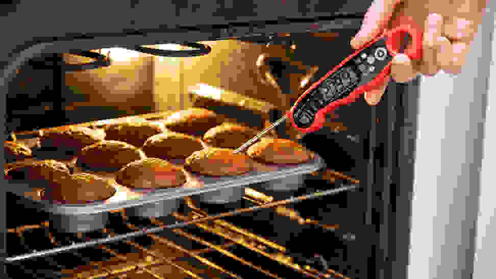 Muffins in an oven