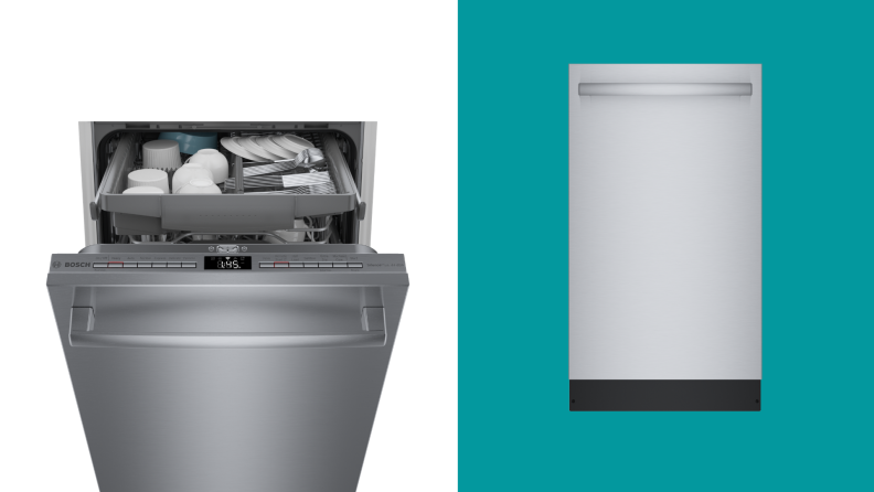 two visuals of Bosch's ADA compliant dishwashers, one open and one closed