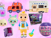 Assorted children's toys in front of pink background.