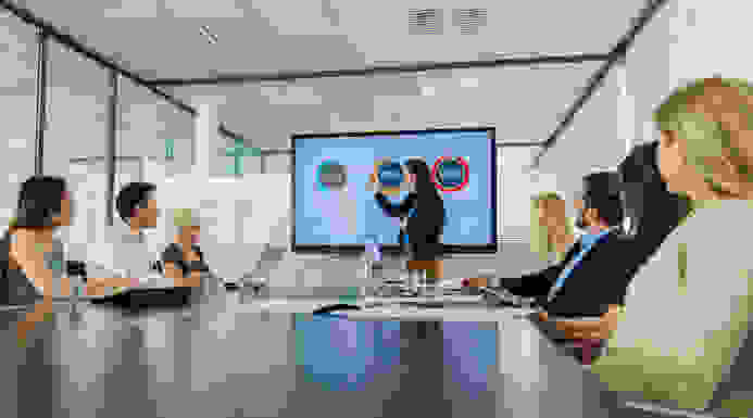 Woman presenting during meeting