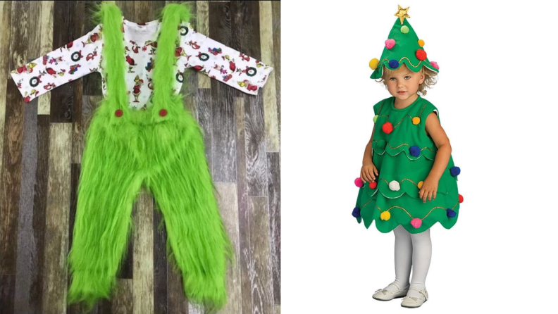 On left, Grinch inspired Halloween costume. On right, small child dressed as Christmas tree.