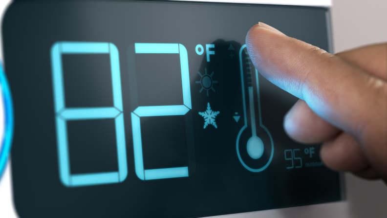 a smart thermostat reads 82 degrees