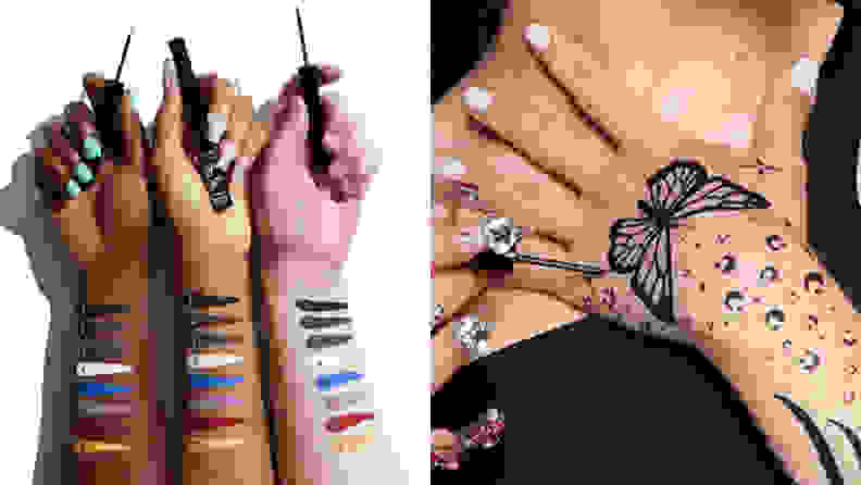 On the left: Three arms of different skin tones with swatches of colored eyeliner on them. On the right: A butterfly design drawn onto a hand with eyeliner.