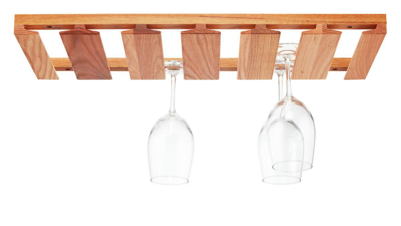 An oak wine glass rack.
