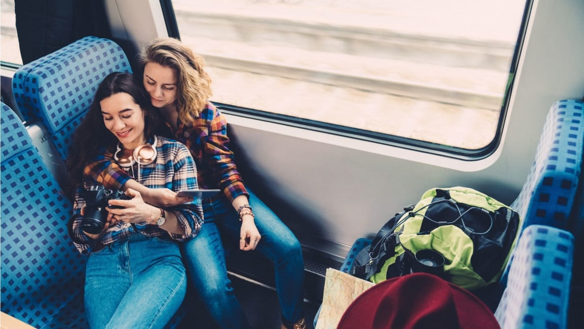 Couple traveling by train with credit card