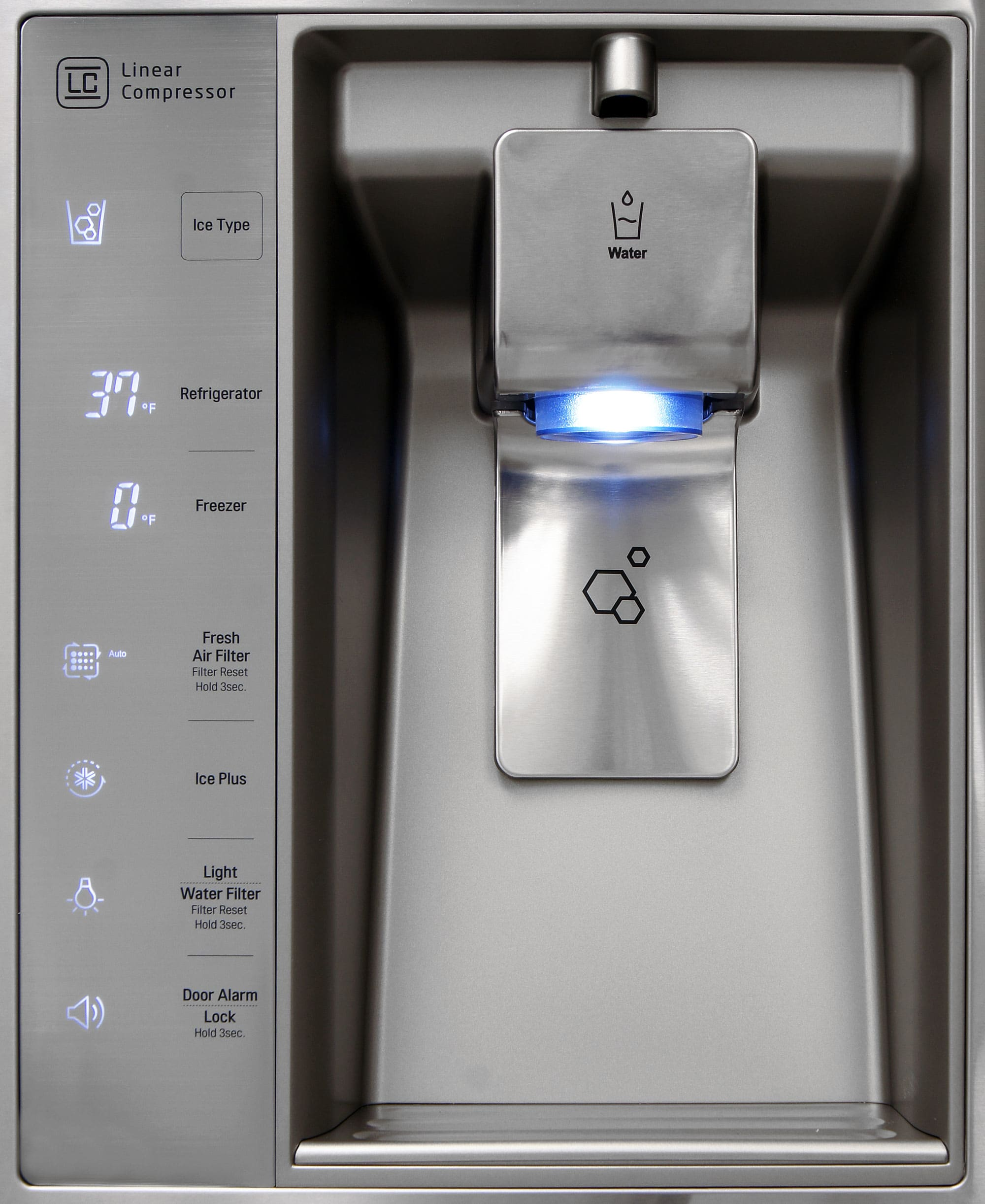 The nook isn't terribly deep, but the LG LMXS30786S's dispenser's height can accommodate a variety of receptacles.