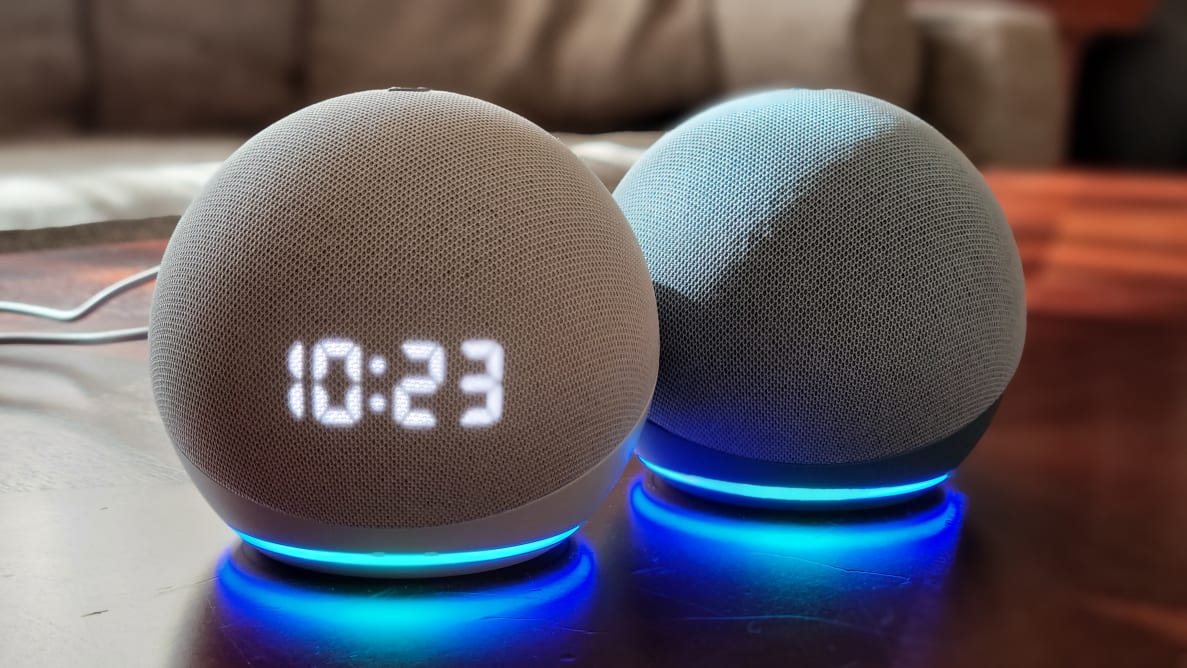 Glacier white Echo Dot with Clock and Twilight Blue Echo Dot