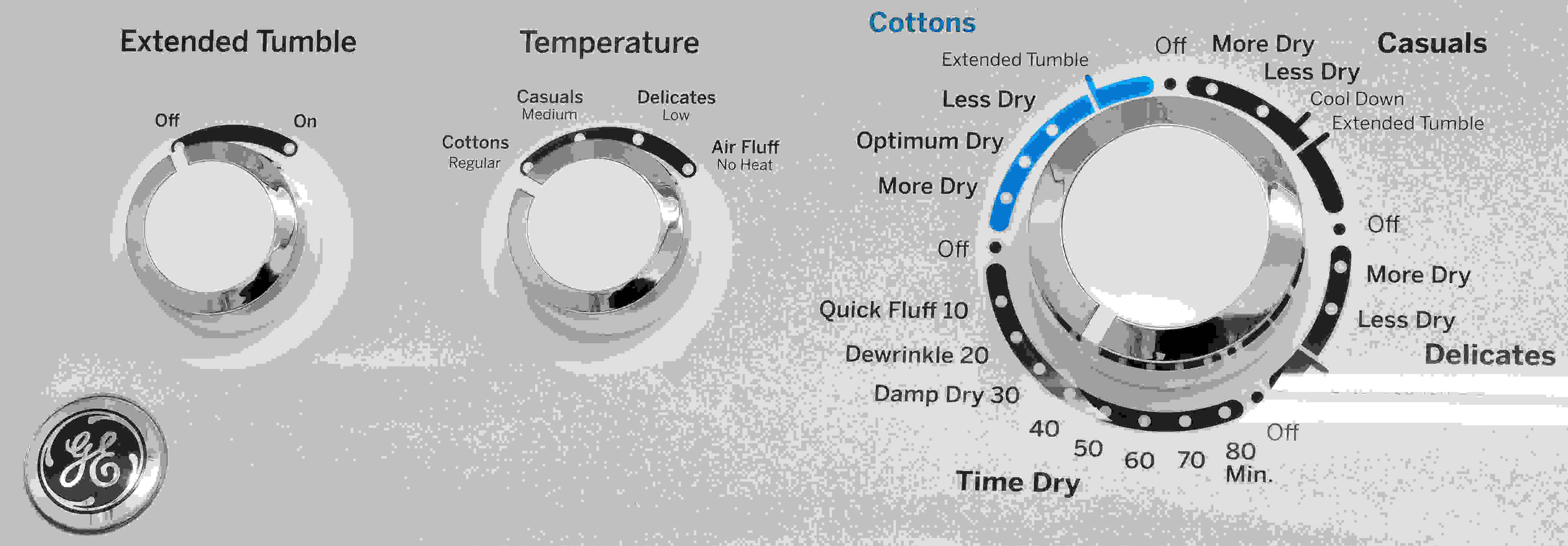 Four temperature settings and an extended tumble. That's all the control you really have over the GE GTD45EASJWS.