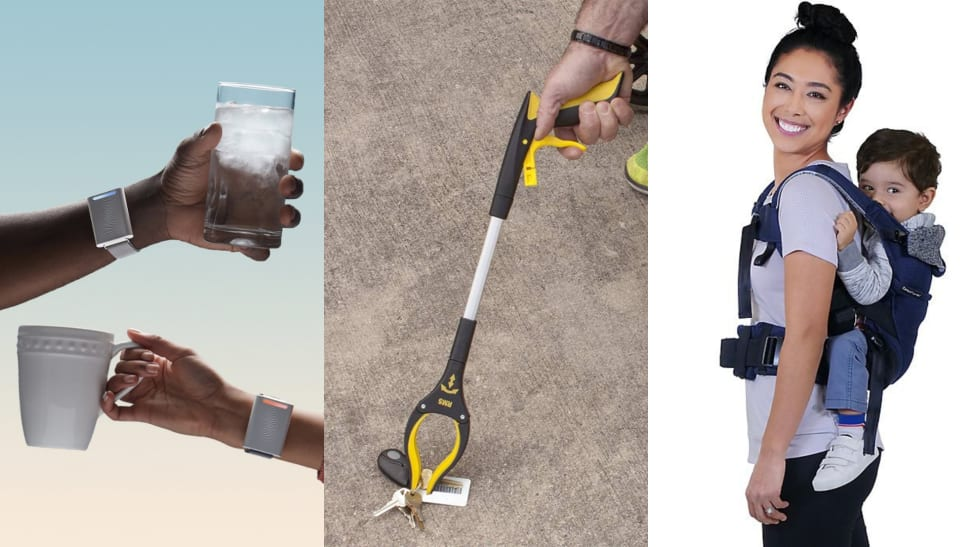 (Left) Two arms reach out holding cups whilst wearing the Embr Wave Bracelet. (Center) An arm reaches out using a grabber to hold fallen keys. (Right) A parent carries their infant with a baby carrier.