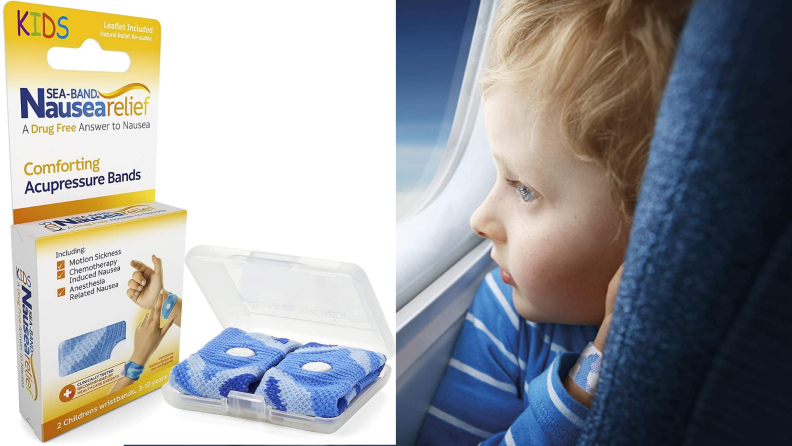A child wears an anti-nausea bracelet to prevent motion sickness.