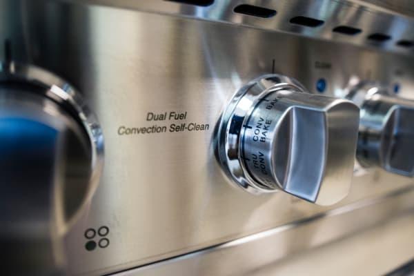 Oven control knob closeup