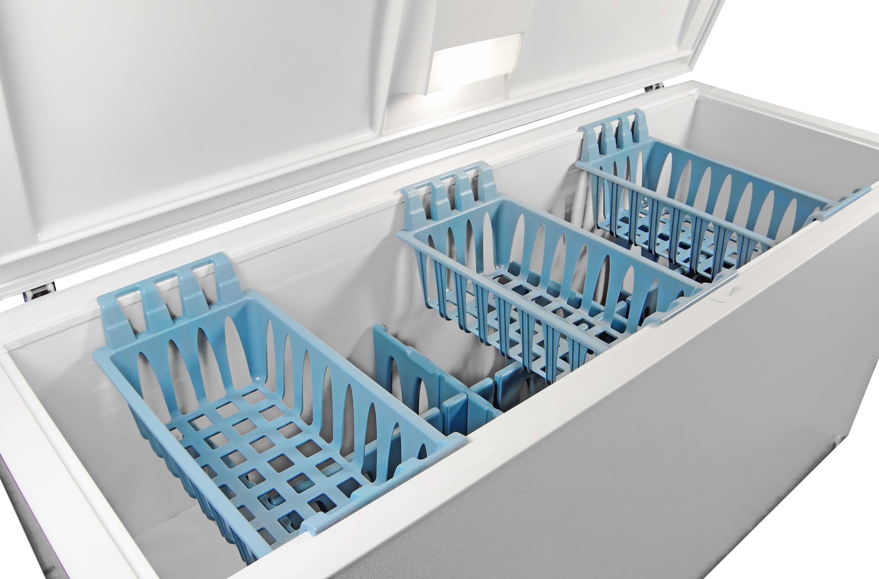The Frigidaire Gallery FGCH25M8LW's three vibrantly blue bins provide sliding storage for food kept at the top.