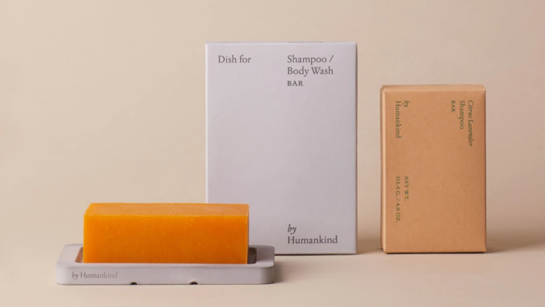 A shampoo bar and it's packaging.
