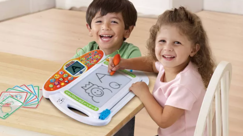This portable tablet provides beginning writing lessons within fun activities.