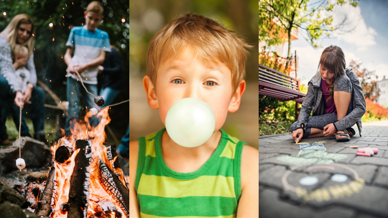 (Left) A family roasts marshmallows for s'mores over a fire.(Center) A child blows a bubble with gum. (Right) A young child draws with chalk on a sidewalk.