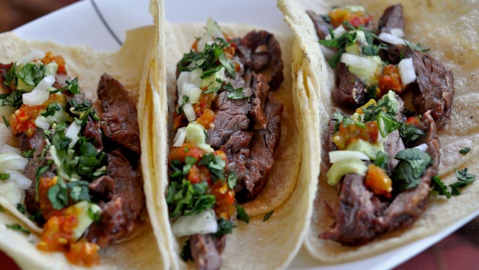 Three Carne Asada tacos