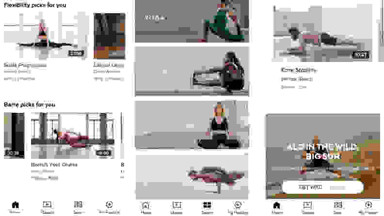 Three screenshots of the Alo Moves app showcasing classes and features.