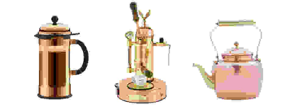 Three copper coffee-making appliances.