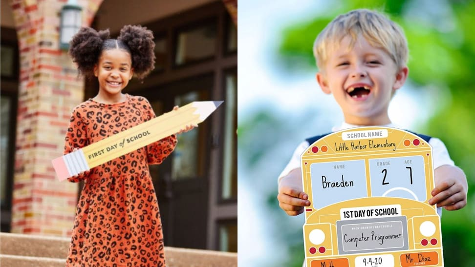 Children holding first-day-of-school signs