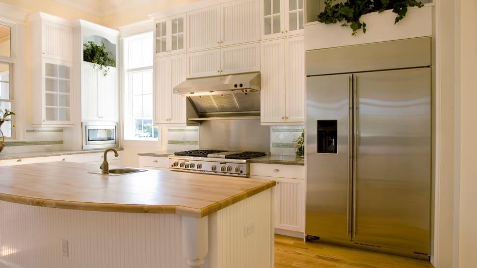 A luxury refrigerator in a designer kitchen