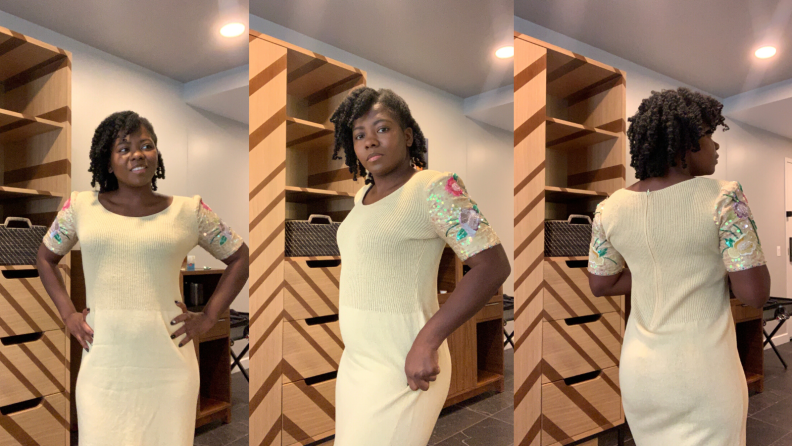 Skims Sculpting Bodysuit Mid Thigh under a dress