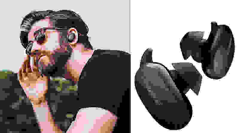 Black bose earbuds on man