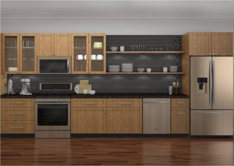 Sunset Bronze in a kitchen with light wood cabinets