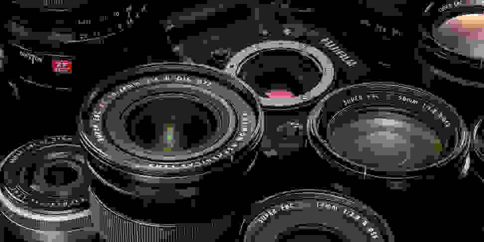 A variety of Fujifilm X-mount lenses