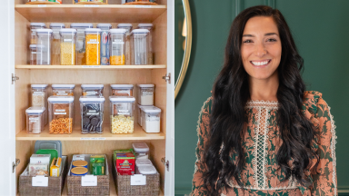 on left, an organized pantry with plastic bins full of pasta, at right, Horderly founder Jamie Hord