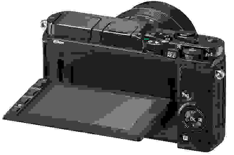 A shot of the Nikon 1 V3's tilting screen
