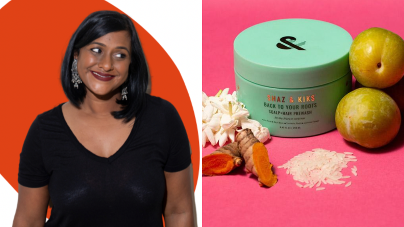 On the left: A photo of the co-founder of the brand. On the right: A photo of the prewash surrounded by fruit and other ingredients.
