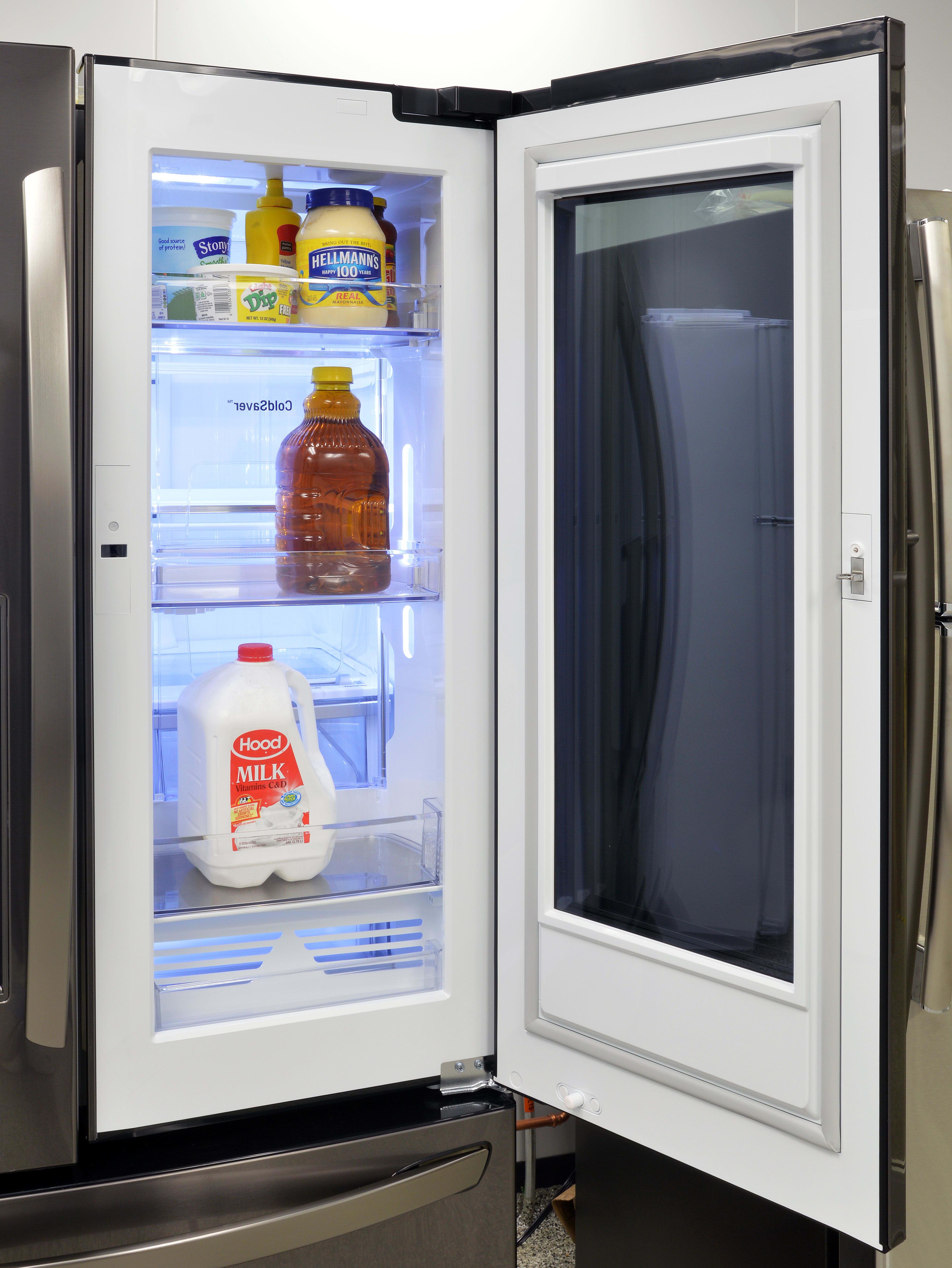 Behind the LG InstaView window is conventional door-in-door storage.