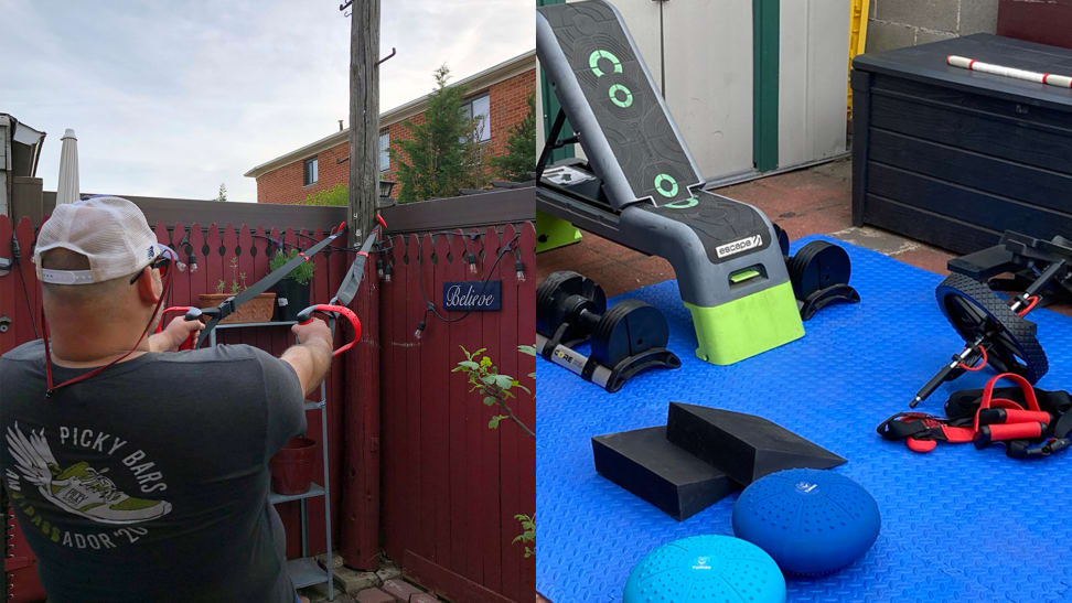 Right: Man using suspension trainer outside. Left: Backyard gym.
