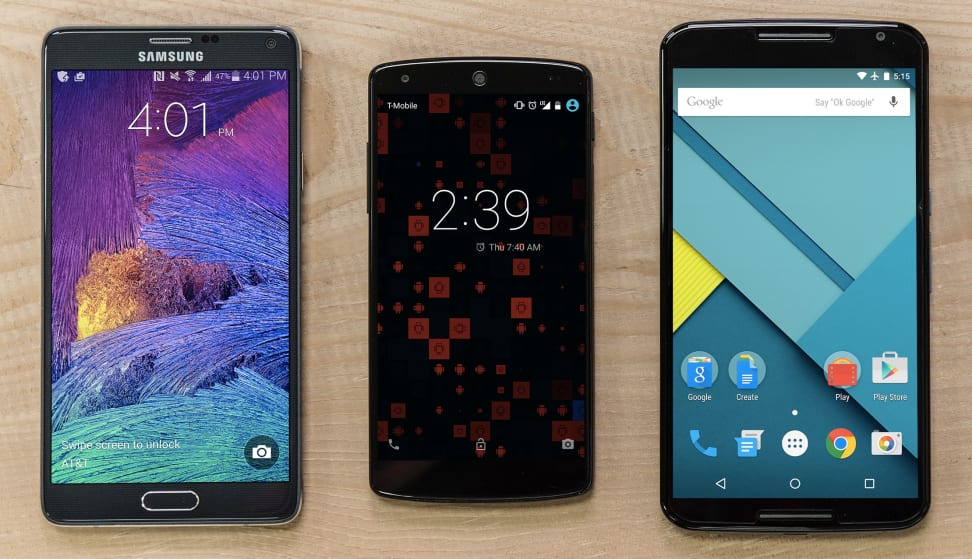 A size comparison of the Samsung Galaxy Note 4, Google Nexus 5, and Google Nexus 6.