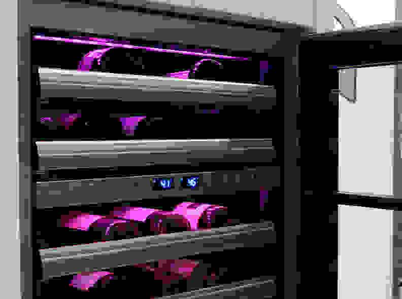 Variable Color LED-Lit Wine Cabinet
