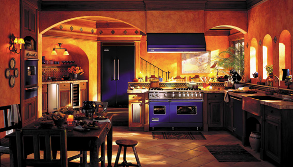 European-style Kitchen with blue paneling for accents.