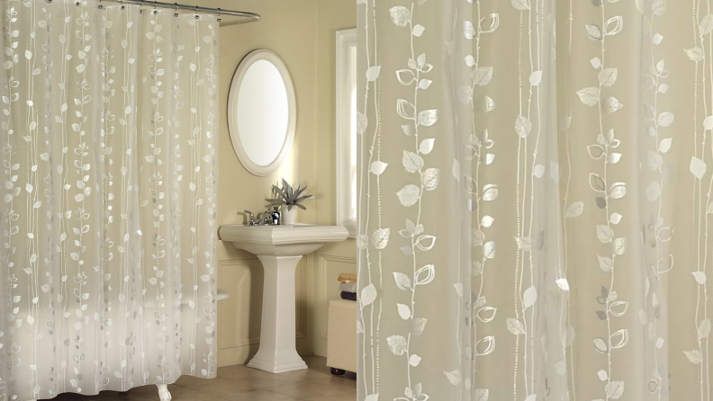 A shower curtain with a gold ivy print.