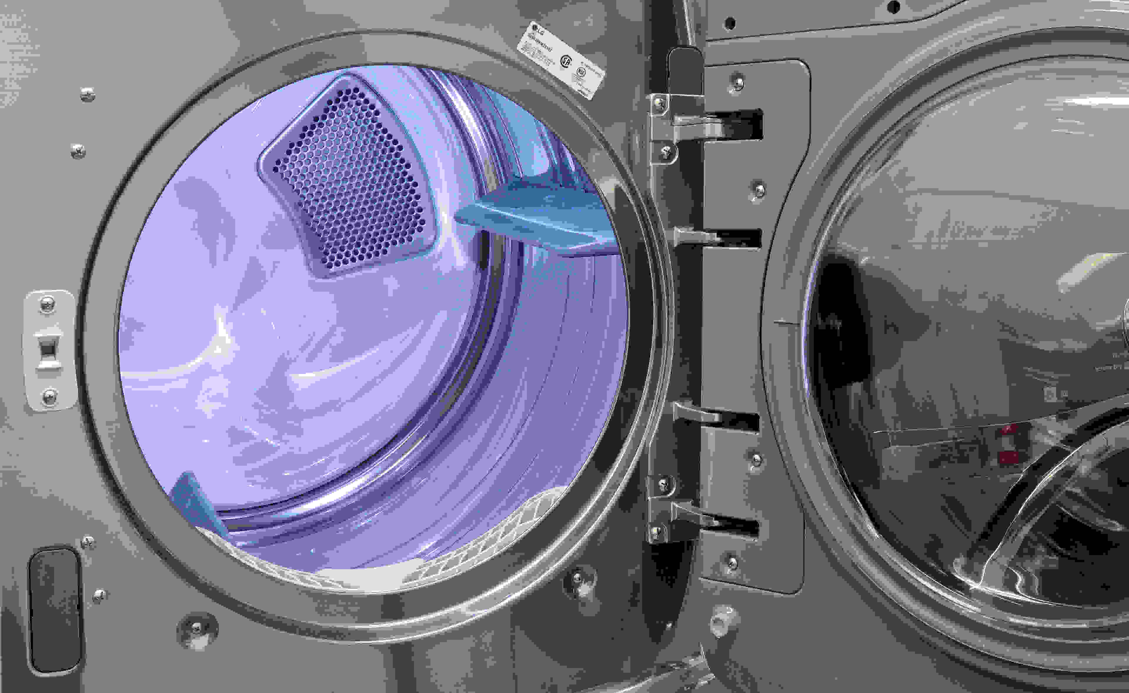 The inside of the LG DLEX5000V features a stainless steel drum that—unlike the tilted washer—sits at a normal angle.