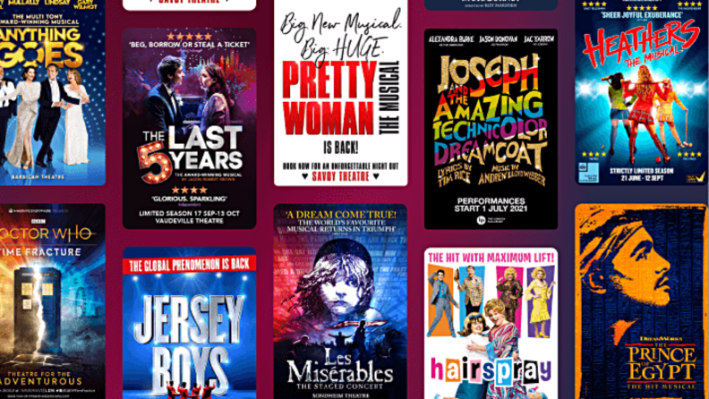 A selection of musical and play posters from Today Tix.