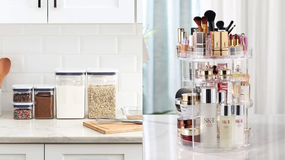 Left: OXO pantry storage containers on cabinet; Right: Rotating makeup organizer on table with makeup inside it