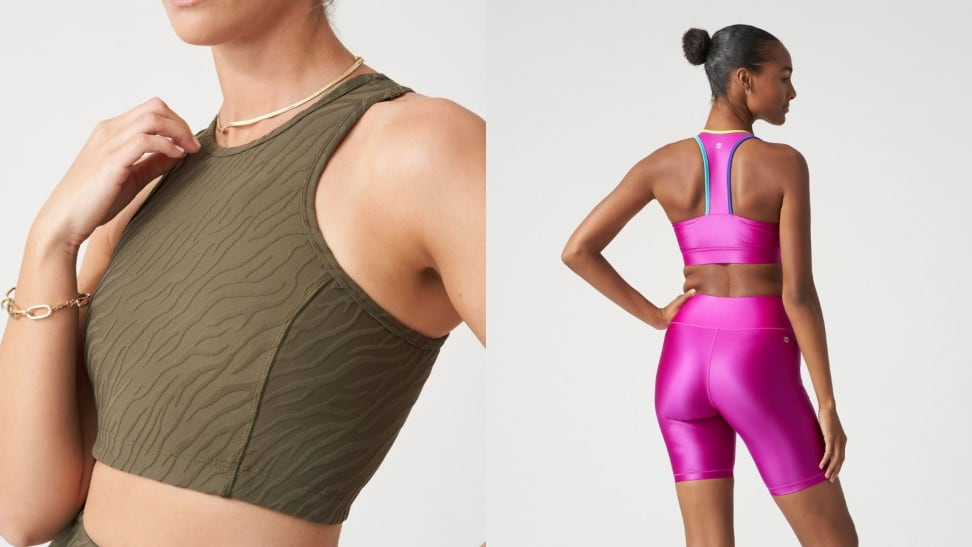 Left: Olive green crop bra top; Right: Hot pink bike shorts and bra