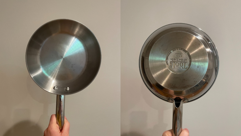 A side by side of the front and back of an 8 inch frying pan, showing the wear and tear from cooking.