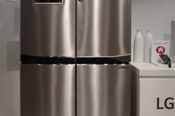 The LG RF874SBSS Smart View fridge exterior