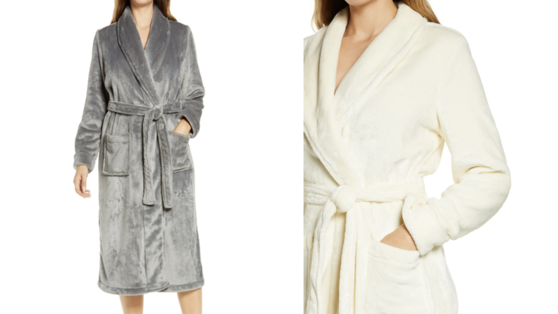 Person wearing gray and cream plush robe.