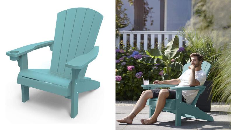 an teal Adirondack chair, next to a man sitting in an Adirondack chair