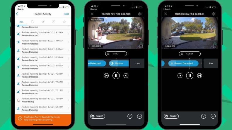 Ring doorbell app view