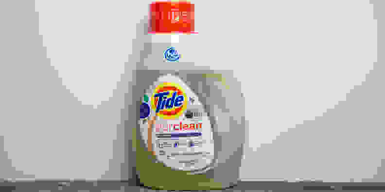 Tide PurClean comes in a clear bottle. It goes on sale in May.