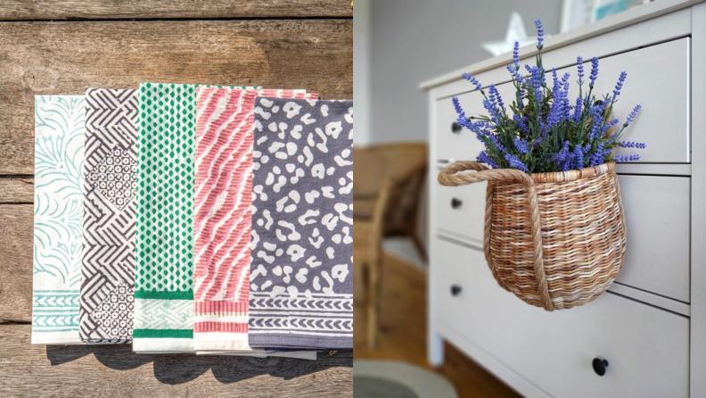 napkins and basket